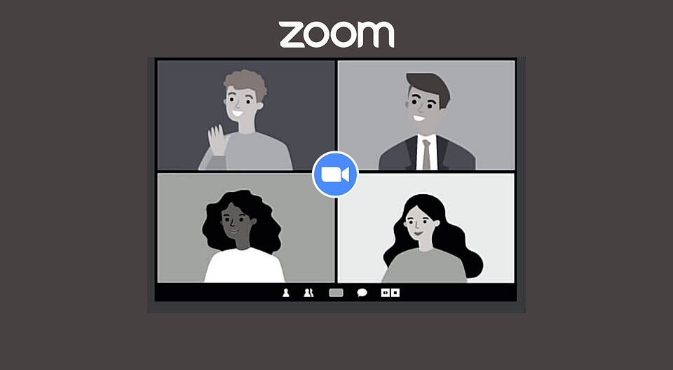 Illustration of 4 people in a zoom meeting